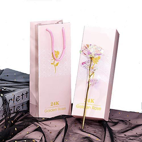 ALLOMN Rosa, Flores Artificiales, 24K Chapado en Oro Rosa con Caja de Regalo día de San Valentín Día de la Madre Cumpleaños de Navidad (Colorida)