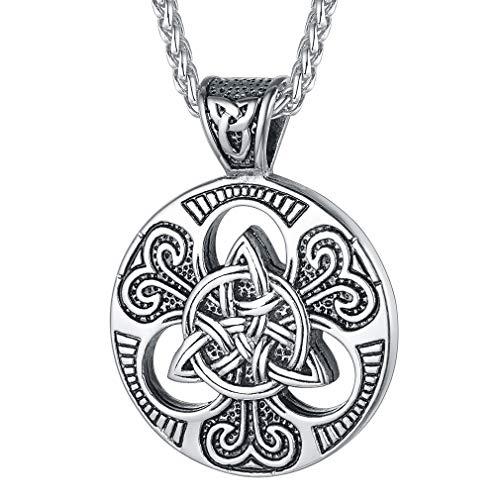FaithHeart Colgantes Círculos Nudos Célticos Irlandesas Retro Collares Redondo Vintage Acero Inoxidable Plateado para Hombres y Mujeres Collar Irlandés Talismán de Amuleto