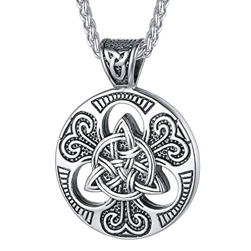 FaithHeart Celtic Knot Necklace for Men, Stainless Steel Magic Double Side Solid Heavy Pendant with 24 Inches Chain - Silver