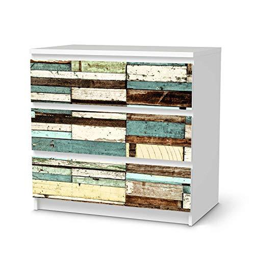 creatisto Möbelfolie selbstklebend passend für IKEA Malm Kommode 3 Schubladen I Möbeldeko - Möbel-Aufkleber Folie Tattoo I Wohndeko für Esszimmer und Wohnzimmer - Design: Schiffsbruch