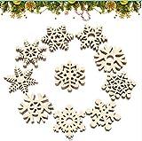 fiocco di neve Natalizie Artigianato, Ciondolo Albero di Natale, Legno Pendenti Natalizi D...