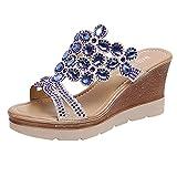 DZQQ Zapatos de cuña para Mujer, Zapatos de Playa Transpirables con Punta Abierta, Sandalias Sexis de Verano, Zapatos de cuña para Mujer con Diamantes de imitación
