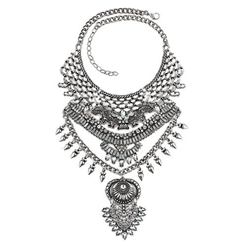 ReisJewelry Long Tassel Chunky Boho Coin Statement Necklace For Women (Style4)