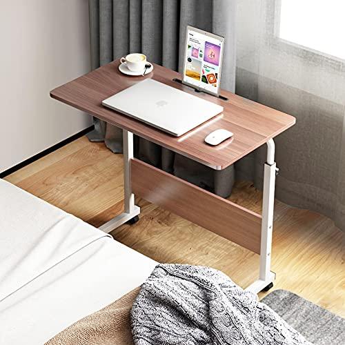 sogesfurniture Mesa Portátil Ordenador Ajustable con Ruedas, 80 * 40cm Sofá Mesa Mesas de Centro, con Ranura para Tableta, Roble BHEU-CXYM-05#3-80BB