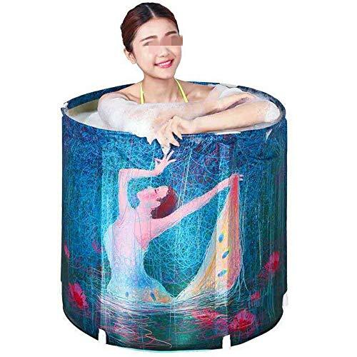 Dickerer Eimer Freistehende Badewanne tragbare Mini-zusammenklappbare Badewanne Gut Knitterfestigkeit für Badezimmer (Farbe : Blue, Size : 70X68CM)