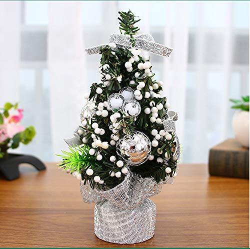 BearHoHo - Mini albero di Natale, 20 cm, decorazione natalizia per bambini, confezione regalo di Natale (argento)