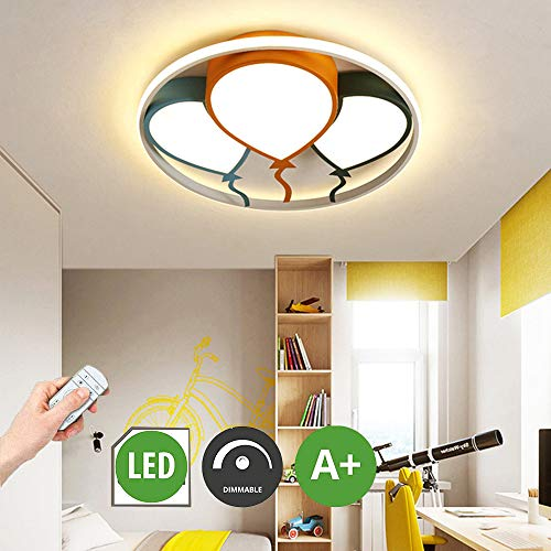 Hil Ballon Led-plafondlamp, creatieve persoonlijkheid, kinderplafondlamp, met afstandsbediening, dimbaar, acryl materiaal voor kinderkamer, kleuterschool, slaapkamer