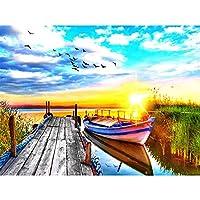 5Dダイヤモンド絵画夕日の風景刺繡橋モザイク家の装飾手作りギフト-60x70cm