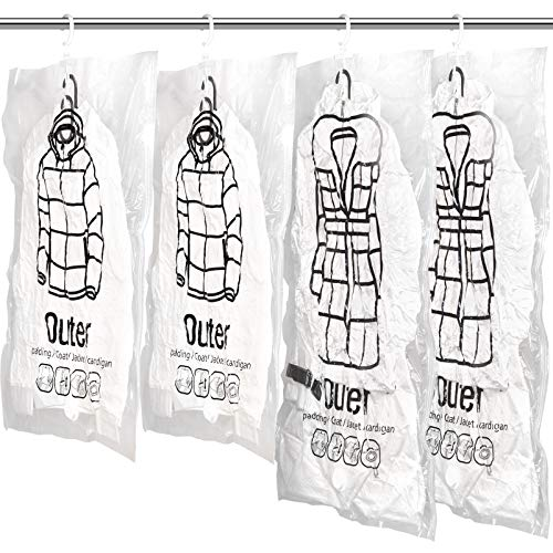 Meetall Hanging Vacuum Space Saver BagsReusable Vacuum Storage Bag With HangersPack of 4pcsInclude 2pcs of Short 263x354inch And 2pcs of long 263x433inchCloset Wardrobe OrganizerSeasonal Garment Compressed Storage Bags For Winter OvercoatDown JacketClothingDressSuitsWork With Vacuum Cleaner