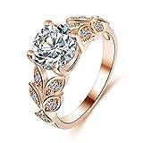 FEITONG Damen-Ring Blätter Strass Zirkonia Ringe Legierung Rings Verlobungsring Edelstahl Schmuck (Größe:6, Roségold)