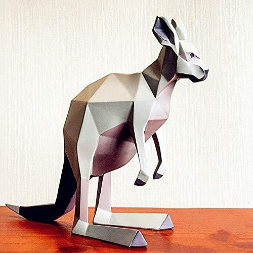 PZAIQ Objets De Décoration Aspect Géométrique Kangourou Statue Simulation Animal Résine Bureau Hôtel Salon Décoration Cadeau