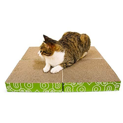 EIGHTT 4 en 1 Gatito Corrugado Sofá Gato Rascador de cartón Resistente al Desgaste Salón del Gato Más Juguetes for Gatos Pad Alfombras Rascadoras para Gatos para Dormir Jugar