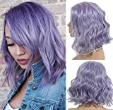 Body Wave Bob Wigs Lilac 180% Density Virgin Human Hair Lace Front Pre Plucked Hairline 12inch Middle Part 13×4 Swiss Lace Bleach Knot with Baby Hair Lilac color Short Cut for Lady(Could be restyle)