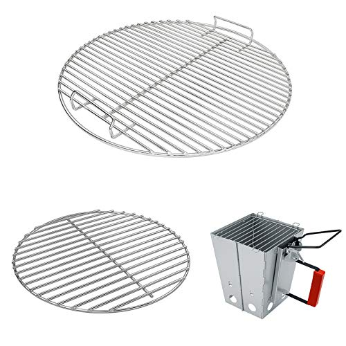 Hisencn Grill Grate, Charcoal Grid for Weber 18.5' One-Touch Charcoal, Bar-B-Kettle, Smokey Mountain Cooker Smoker, Jumbo Joe, Original Kettle Grill for Weber 7432, 7440 with Foldable Chimney Starter
