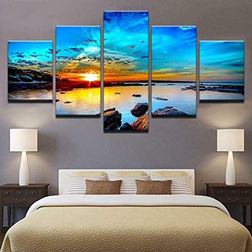 Posters and Prints 5 Pieces Canvas Painting Wall Art 5 Piece Canvas Artwork Modern Framed Gallery-Wrapped Sunrise Seaview Sunset Water Rocks Home Decor Hd Print Modular Pictures Ready to Hang