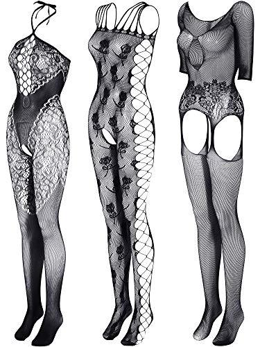 3 Pieces Women Fishnet Dresses Mesh Lingerie Fishnet Hollow Fishnet Sleepwear for Women Daily Favor (Black)