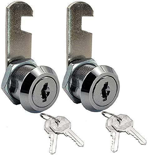 General Cabinet Replacement Toolbox Lock 16mm 2 Set,5/8''Cylinder Cam Lock,Mailbox Key Lock,Key Lock for Drawer Dresser RV Bins Security Box,Keyed Different