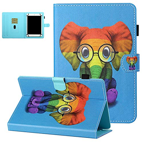 7 Inch Tablet Case, UGOcase Synthetic Leather Wallet Stand Flip Cute Cover Case for Dragon Touch M7 7 inch/Vankyo MatrixPad S7 / Galaxy Tab 3 Lite 7.0/Tab A 7.0/Astro Tab 7' Tablet, Color Elephant
