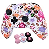 Pink Xbox One Controller Skins RALAN,Silicone Controller Cover Skin Protector Compatible for Xbox Ones Controller (Pink Pro Thumb Grip x 2,Cat + Skull Cap &Cover Grip x 2)(Pink Flower)