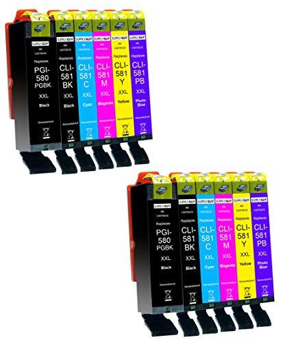 Supply Guy 12 Cartuchos de Tinta XXL con Chip compatibles con Canon PGI-580 CLI-581 para Pixma TS8100 TS8150 TS8151 TS8152 TS8200 TS8250 TS8251 TS8252 TS8300 TS8350 TS8351 TS8352 TS9100 TS9150 TS9155