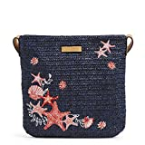 Vera Bradley Women's Straw Crossbody Purse, Navy Sea Life