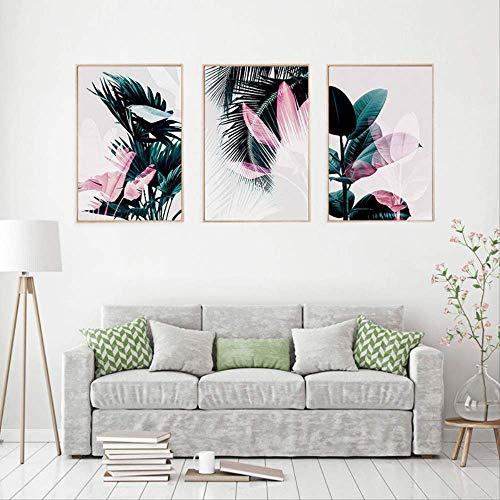 LWJZQT canvasdrukken, 3 stuks, bonte bladeren wooncultuur, Nordic canvas, schilderkunst, wandkunst, planten, prints en posters, moderne frisse afbeelding voor Nordic woonkamer