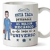 MUGFFINS Mecánico Tazas Originales de café y Desayuno para Regalar a Trabajadores Profesionales - Esta Taza Pertenece al Mejor Mecánico del Universo - Cerámica 350 ml