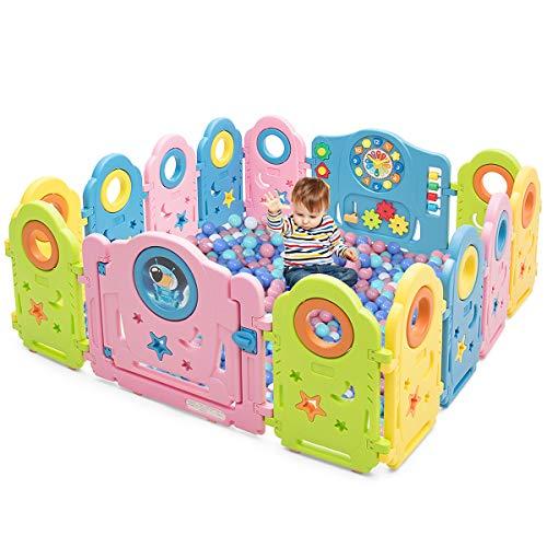 COSTWAY Box con 14 Pannelli, Centro Attività per Bambini, Pieghevole e Antiscivolo, con Porta Chiusura, Barriera Recinto Sicuro