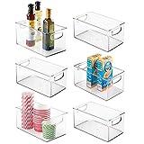 mDesign Plastic Kitchen Pantry Cabinet, Refrigerator or Freezer Food Storage Bins with Handles - Organizer for Fruit, Yogurt, Snacks, Pasta - Food Safe, BPA Free, 6' Wide, 6 Pack - Clear