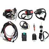 necaces Complete Electrics Stator Coil CDI Wiring Harness Solenoid Relay Spark Plug for 4 Stroke ATV 50cc 70cc 110cc 125cc Pit Quad Dirt Bike Go Kart Scooter Moped Parts