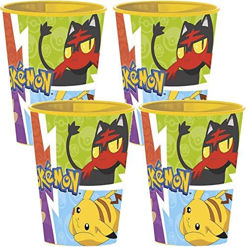 Carpeta 4 stabile Kunststoff-Becher * Pokémon * für Kindergeburtstag und Pokemon Party | 260ml - wiederverwendbar | Mottoparty Partybecher Pikatchu