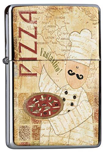 Chrom Sturm Feuerzeug Benzinfeuerzeug aus Metall Aufladbar Winddicht für Küche Grill Zigaretten Kerzen Bedruckt Nostalgie Fun Pizza Pizzabäcker