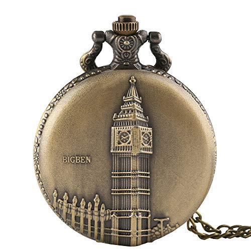 Hombre Reloj de Bolsillo Bronce Envejecido, Big Ben London–Reloj de Bolsillo de Cuarzo, Regalo para Hombres