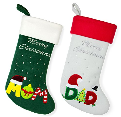 Red Bene Family Christmas Stockings Mom-Dad Set of 2