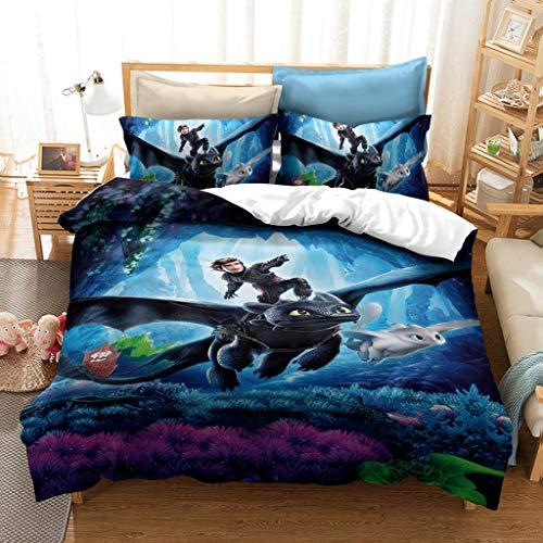 CHRN 3D Cartoon Print How to Train Your Dragon Duvet Cover, Anime All Seasons Bedspread, for Duvet Cover Bedroom Decor (E.135 x 200 cm)