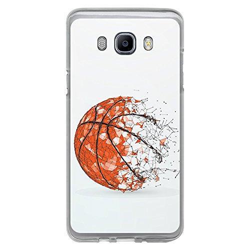 BJJ Funda Transparente para [ Samsung Galaxy J7 2016 ], Carcasa de Silicona Flexible TPU, diseño: Pelota de Baloncesto, Abstracto