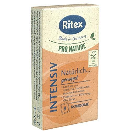 Ritex Pro Nature Intensiv, 8 Stimulierende Kondome, Genoppte Kondome mit luststeigernder Struktur, Öko-Kondome, nachhaltig produziert