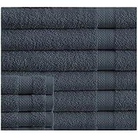 Affinity Linens Luxury 100% Plush Cotton 24 Piece Bath Towel Set (Denim)