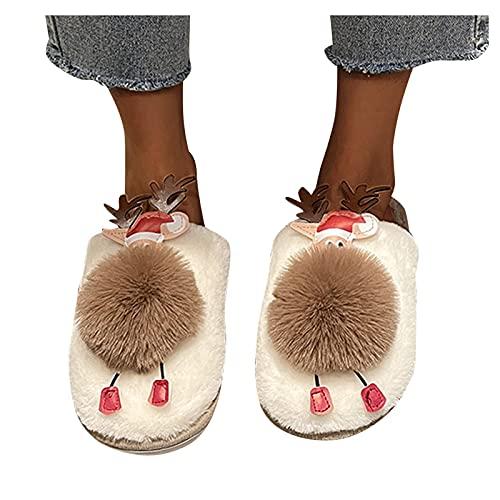 Zapatillas de estar por casa de felpa para mujer y hombre: zapatillas cálidas de invierno con diseño de alce...