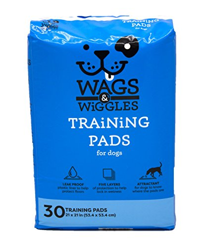 Wags & Wiggles Training Pads For Dogs, 30 Count | Puppy Pee Pads For Dogs | Absorbent and Dog & Puppy Supplies for Dog Training and House Training