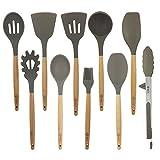 BGT Utensili Cucina Silicone, Set di 10 Utensili da Cucina in Silicone con Manico in Legno di Faggio