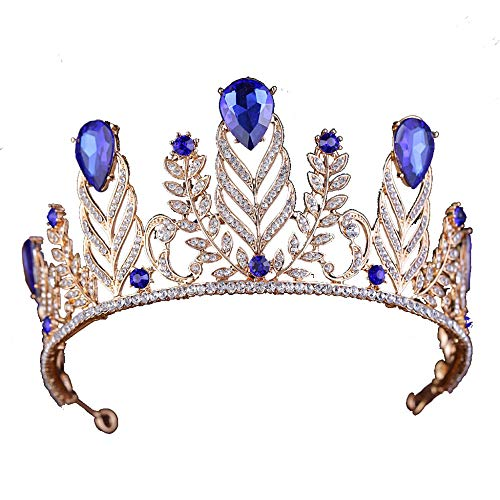 ZYP Brautkrone, Vintage Strass Krone Barock Queen Crown Brautkleid mit