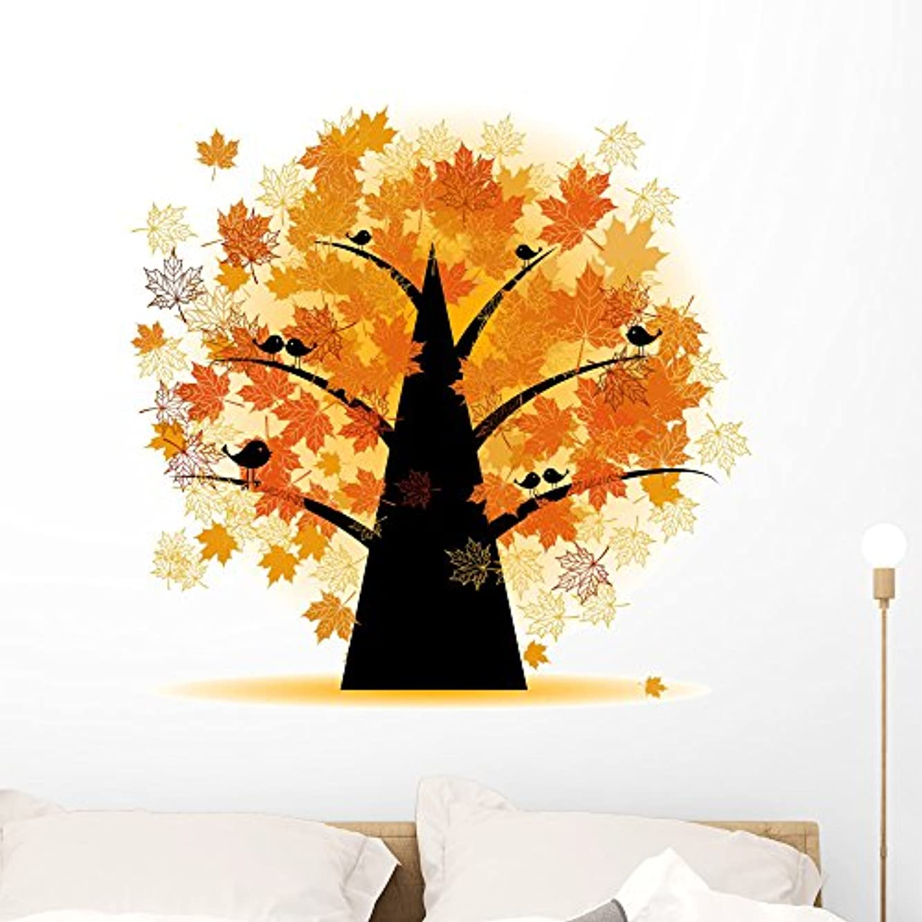 Wallmonkeys Maple Tree Autumn Leaf Wall Decal Peel and Stick Graphic (36 in H x 36 in W) WM2831