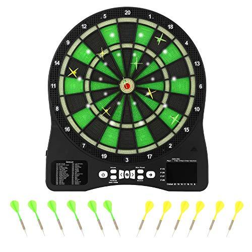 """Kacsoo 15.5\"""" Elektronische Dartscheibe, Digital Light Game Electric Dart, mit Adapter, Scoring-Funktion, verbesserter Haltbarkeit, Ausgestattet mit 12 Darts aus weicher Kunststoffspitze"""