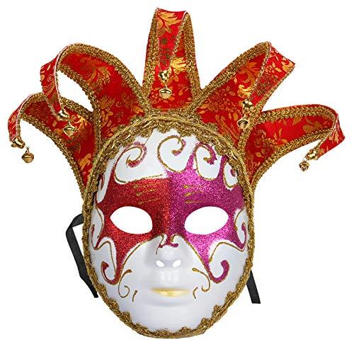makeups110 Mscara Veneciana de bufn, Carnaval Halloween Mascarada navidea Cosplay Mscara, Arte Decorativo de Pared Red_Purple (pequeo)