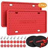2Pcs Silicone License Plate Frame for Car Silicone License Plate Holder with Drainage Holes License Plate Cover Rust-Proof Rattle-Proof US Standard & 2Pcs Black Water Coasters (Red)