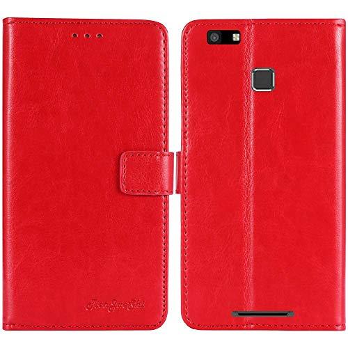 TienJueShi Rot Retro TPU Silikon Flip Book Stand Brief Leder Tasche Schütz Hülle Handy Case Für Vernee Thor E 5 inch Abdeckung Wallet Cover Etui