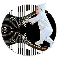 ソフトラウンドエリアラグ滑り止めフロアサークルマット 100x100cm/39.4x39.4IN 吸収性メモリースポンジスタンディングマット,ゴールデンノート楽譜