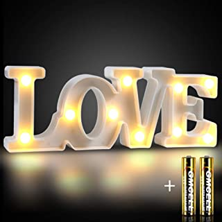 DEKIRU Light Up Love LED Marquee Letter Lights, LED Letter Light Love Shape Signs Lamp for Party Birthday Wedding Christmas Night Light Home Bar Bedroom and Wall Decor Included Batteries (White Love)