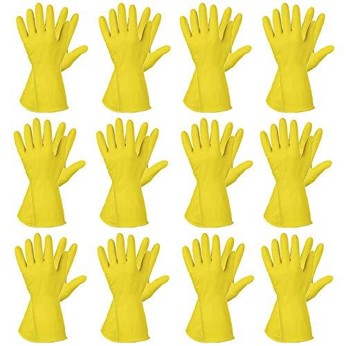 12 Paar Latex Haushaltshandschuhe Gummihandschuhe Spülhandschuhe Rollrand, Größe:8